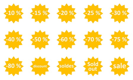 Set of sale gold star icons in white background photo