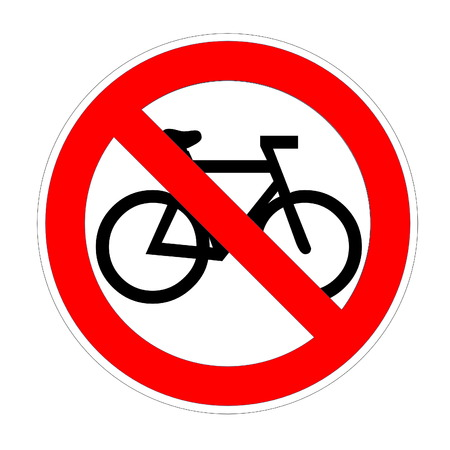 No bike allowed sign in white background Stock Photo