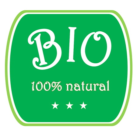 Green bio label 100  natural with three stars in white background photo