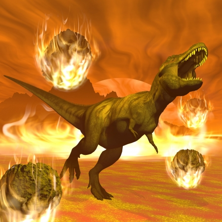 meteorites: Tyrannosaurus dinosaurs escaping or dying because of heat and fire due to big meteorites crash