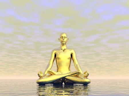 man meditating: Gold man meditating upon the ocean by grey cloudy day