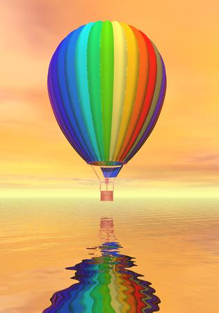 One colorful hot air balloon flying upon ocean by orange sunset light photo