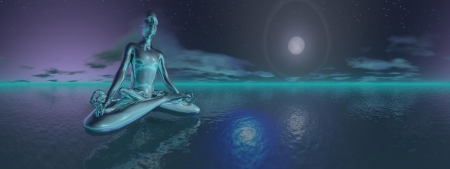 Blue man meditating upon the ocean in deep night with full moon, 360 degrees effect photo