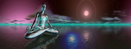 Violet man meditating upon the ocean in deep night with full moon, 360 degrees effect photo