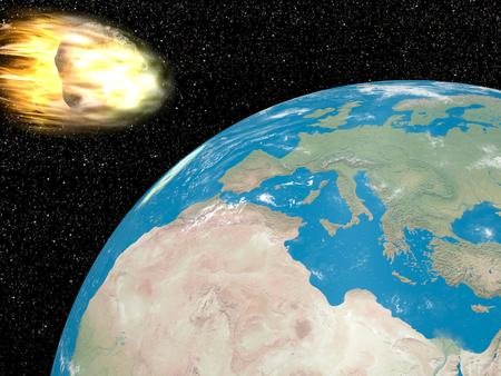 Big grey meteorite in fire going to earth into universe full of stars photo
