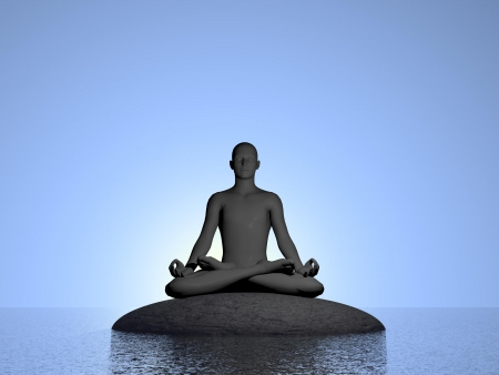 Shadow of man meditating upon a stone on the ocean in deep blue sky photo