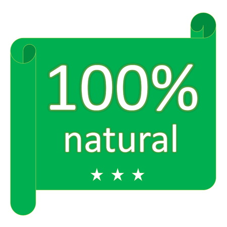 Green 100  natural label with three stars in white background photo