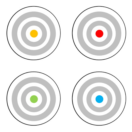 Four grey target with yellow, red, green or blue center in white background photo