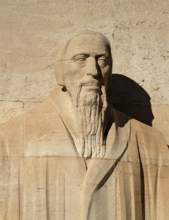 reformation: Close up of Guillaume Farel statue on reformation wall in Parc Des Bastions, Geneva, Switzerland