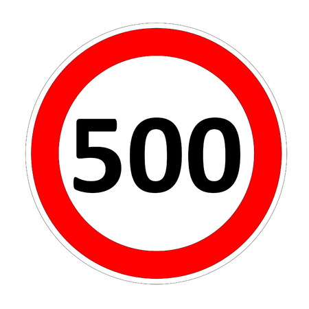 safer: 500 speed limitation road sign in white background Stock Photo