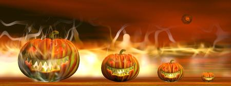 Four pumpkin lanterns burning on the ground by night with red planet for halloween photo
