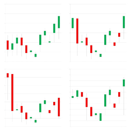 Four different japanese candlestick chart in white background photo