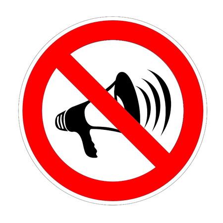 No megaphone, speaker or bullhorn area sign in white background photo
