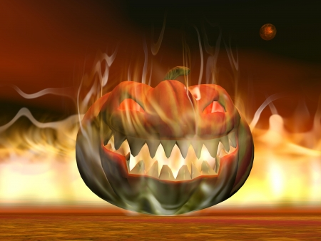 One pumpkin lantern burning on the ground by night with red planet for halloween photo