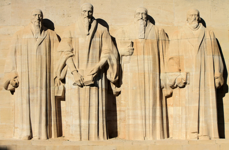 Reformation wall in Parc Des Bastions, Geneva, Switzerland  Standard-Bild