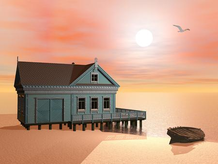 3d bungalow: Green house at the beach near a wood boat by sunset with flying bird