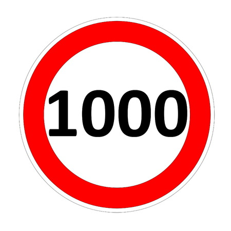 safer: 1000 speed limitation road sign in white background Stock Photo