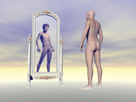 Man and bald scalp standing in front of a mirror looking at another with hair photo