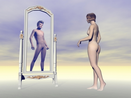 Female looking at herself in the mirror and wishing of being a male into grey background