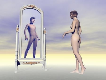 Femme se regardant dans le miroir et souhaitant d'être un homme en arrière-plan gris Banque d'images