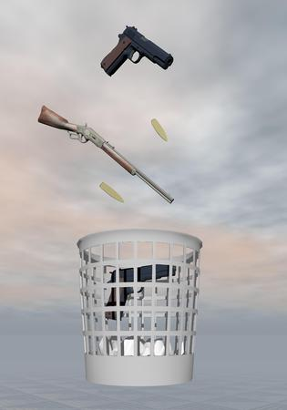 nonviolent: Gun, rifle and bullets thrown to a bin for nonviolent in grey background