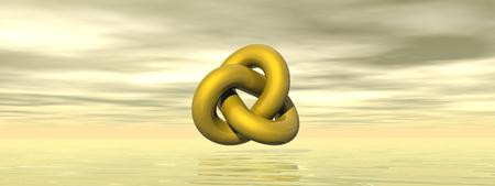 Golden shape with loop in grey and yellow background photo