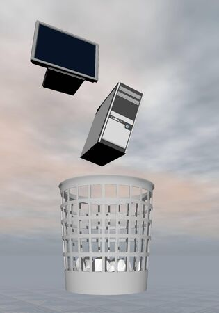 Throwing screen and tower computer to the rubbish in grey background photo