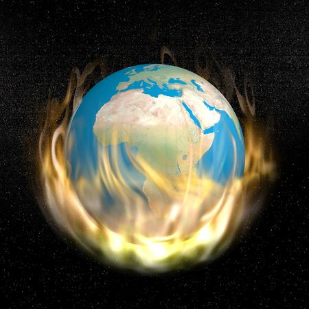 Earth burning into the flames in dark universe with stars photo