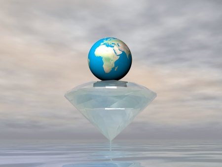 Diamond carrying earth planet by grey cloudy weather photo