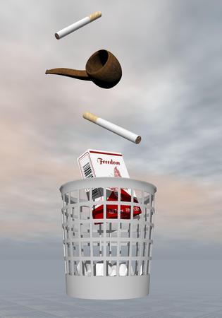pipe dream: Los cigarrillos y tuber�a arrojados a la basura en el fondo gris Foto de archivo