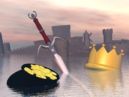 Golden crown, sword, money and castle drowning in water by sunset light Stock Photo - 23313248