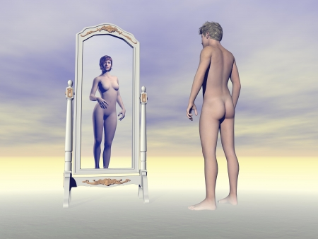 Male looking at himself in the mirror and wishing of being a female into grey background Stock Photo - 23313257