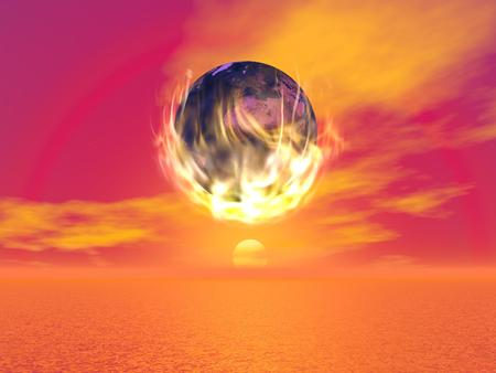 Earth burning into the flames in front of beautiful red sunset with halo Stock Photo - 23313259