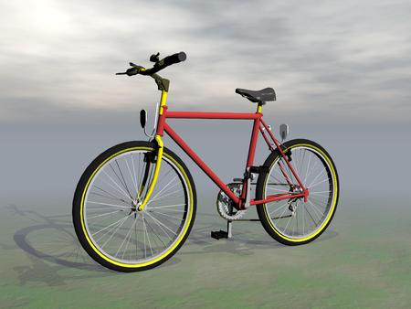 Red mountain bike in grey cloudy background photo
