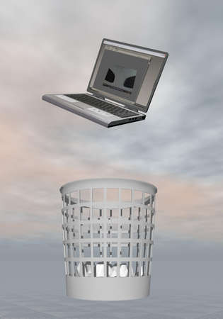 Throwing laptop to the rubbish in grey background Stock Photo - 23475312