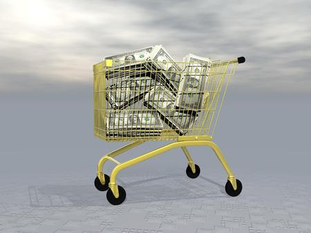 liquidity: Lots of dollars into golden shopping cart in grey background Stock Photo