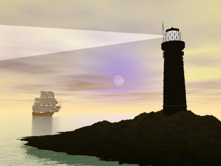 Shadow of a lighthouse guiding an old ship by full moon photo