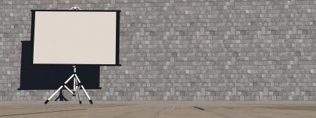 Lege witte projectiescherm op de achtergrond achtergrond
