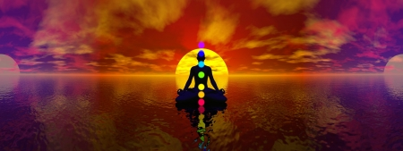 chakra energy: Silhouette of a man meditating with seven colorful chakras upon ocean by blue light, 360 degrees panoramic effect