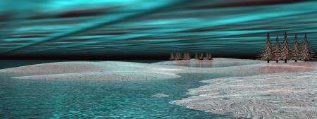 magnetosphere: Aurora boreale aurora boreale sopra l'acqua e innevate colline con alcuni abeti di notte