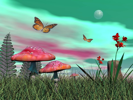 fairy garden: Fairy mushrooms, colorful flowers and monarch butterflies flying by green full moonlight