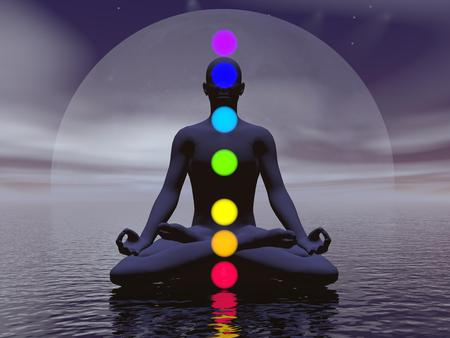 chakras: Silhouette of a man meditating with seven colorful chakras upon ocean by full moon dark night