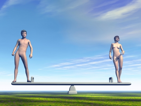 One man and woman on a balance representing equality between the sexes photo