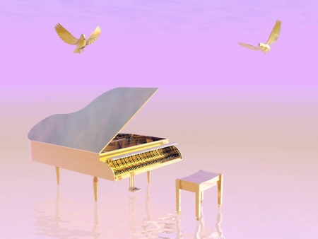 Golden grand piano plus chair with two little birds flying around in pink