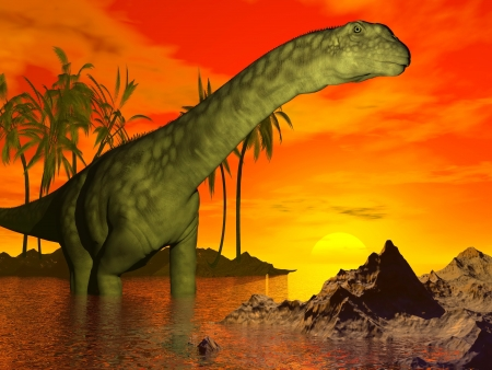 Big argentinosaurus dinosaur standing in water next to palm trees and looking at the beautiful sunset photo