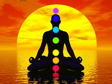 3d aum: Silhouette of a man meditating with seven colorful chakras upon ocean by red sunset Stock Photo