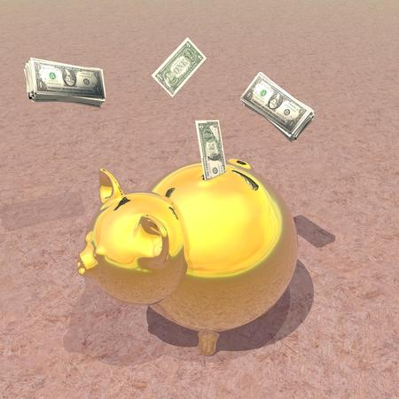 Golden piggy bank with dollar bills in brown background photo