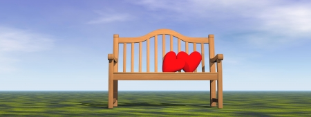 bench alone: Tow red hearts for a couple on one bench alone in nature by daylight