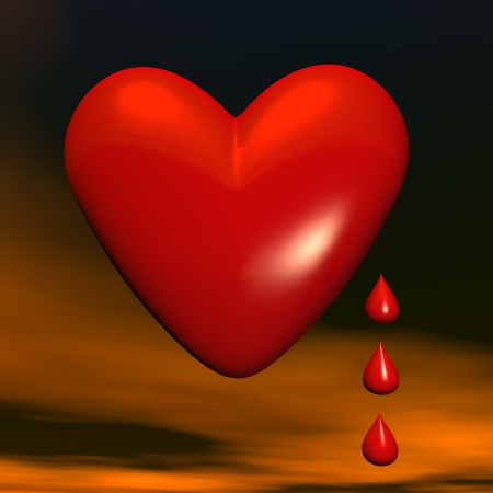 aside: Big red heart with three little drops aside in dark background Stock Photo