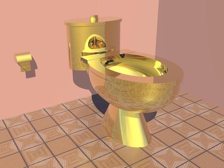 hinges: Nice colorful restroom with beautiful golden toilet